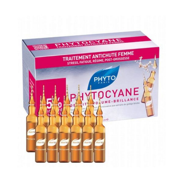 PHYTO CYANE TRAITEMENT ANTI-CHUTE FEMME 12 AMPOULES X7.5 ML